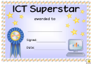 Ict Superstar Award Certificate Template
