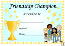 Friendship Champion Award Certificate Template