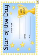 Star Of The Day Award Certificate Template - Blue