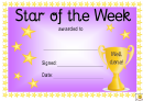 Star Of The Week Award Certificate Template - Purple