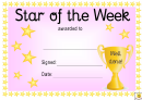 Star Of The Week Award Certificate Template - Pink