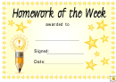 Homework Of The Week Award Certificate Template - Yellow