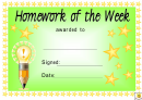 Homework Of The Week Award Certificate Template - Green