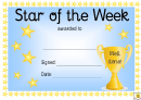 Star Of The Week Award Certificate Template - Blue