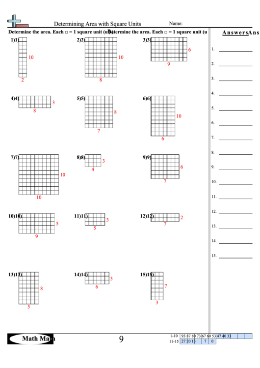 Determining Area With Square Units Math Worksheet With Answer Key