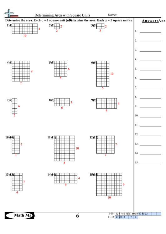 determining area with square units math worksheet with answer key printable pdf download. Black Bedroom Furniture Sets. Home Design Ideas
