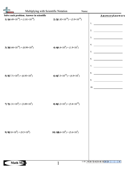 Multiplying With Scientific Notation - Math Worksheet With Answer Key Printable pdf