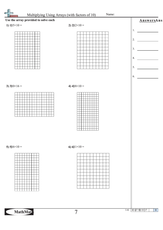 Multiplying Using Arrays (With Factors Of 10) - Math ...