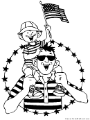 Happy Americans Patriotic Coloring Sheet