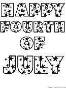 Happy Fourth Of July Patriotic Coloring Sheet