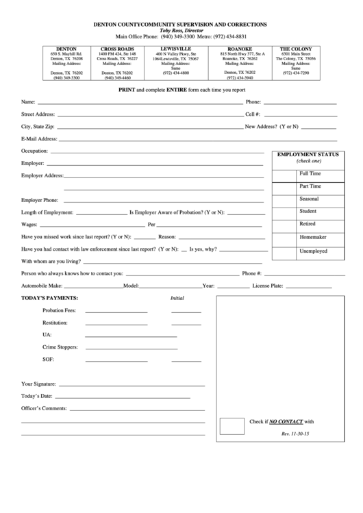 Fillable Community Service Report Form Printable pdf