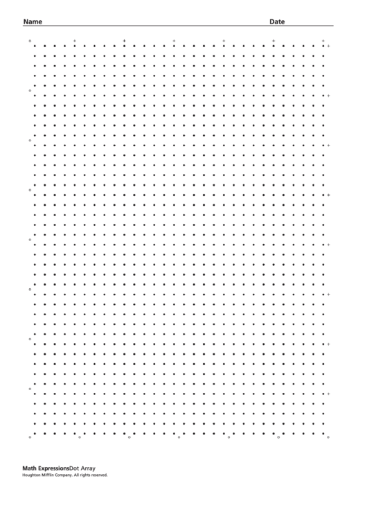 dot array worksheet template printable pdf download