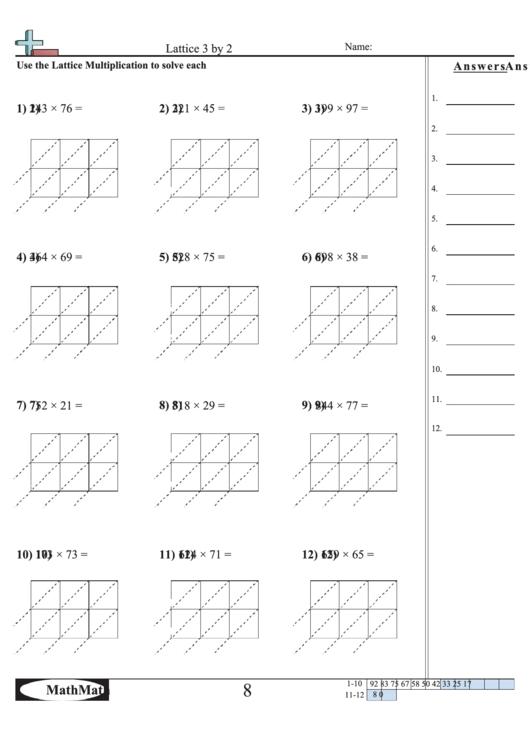 lattice 3 by 2 math worksheet with answer key printable pdf download. Black Bedroom Furniture Sets. Home Design Ideas