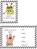 Birthday Invitation Card Template (sponge Bob)
