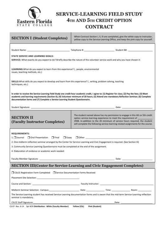 Form Cs-07 - Service-Learning Field Study - 4th And 5th Credit Option Contract Form Printable pdf