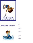 Birthday Invitation Card Template - Blue