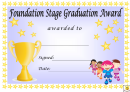Award Certificate Template - Foundation Stage Graduation Award