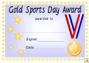 Award Certificate Template - Gold, Silver And Bronze Sports Day Award