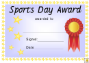 Award Certificate Template Gold Silver And Bronze Sports Day