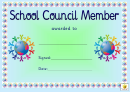 Award Certificate Template - School Council Member