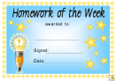Award Certificate Template - Homework Of The Week