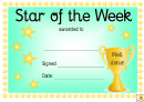 Award Certificate Template - Star Of The Week - Blue And Yellow