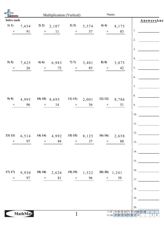 Multiplication (vertical) Worksheet With Answer Key