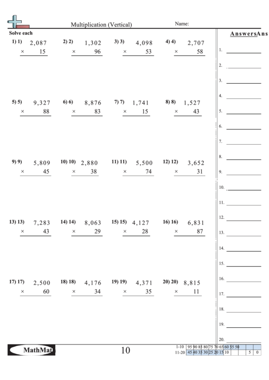 multiplication vertical math worksheet with answer key printable pdf download. Black Bedroom Furniture Sets. Home Design Ideas