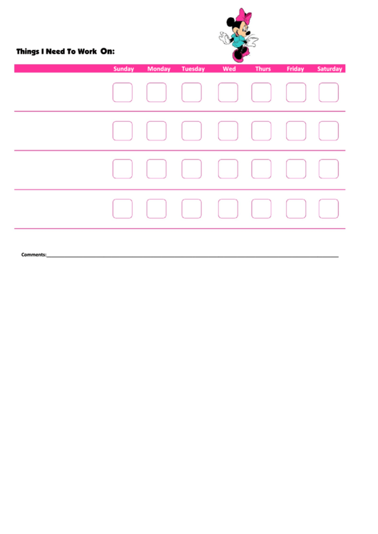 Things I Need To Work On - Behavior Chart Template - Minnie Mouse Printable pdf