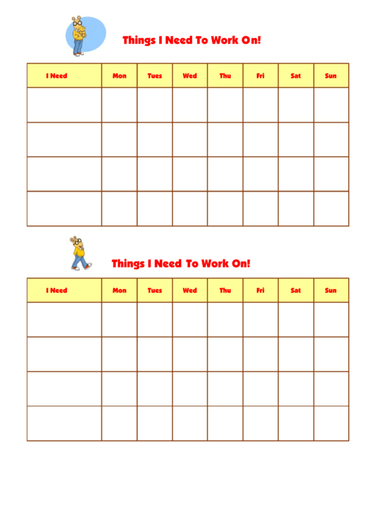 Things I Need To Work On Template - Arthur Printable pdf
