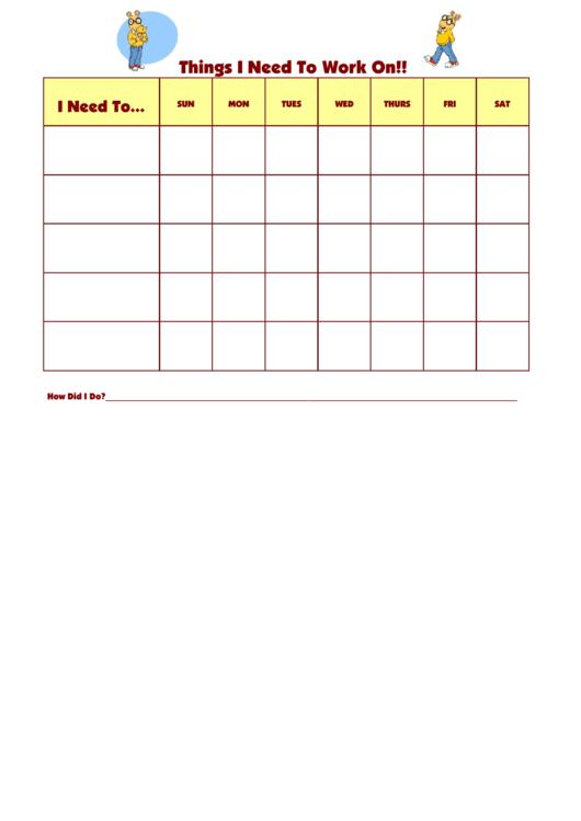 Things I Need To Work On Arthur2 Template Printable pdf
