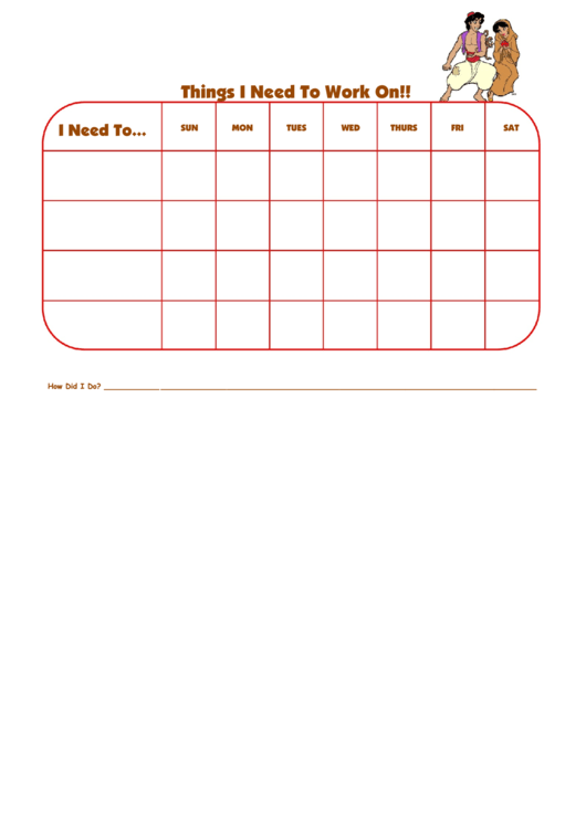 Things I Need To Work On Aladdin Characters Template Printable pdf