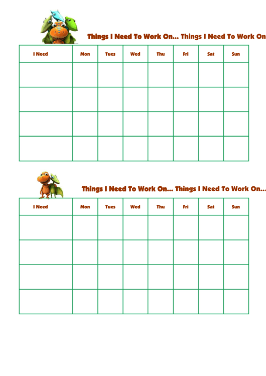 Things I Need To Work On Dinosaur Train Template Printable pdf