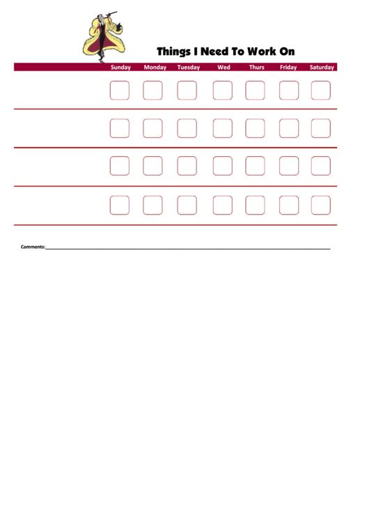 Things I Need To Work On - Behavior Chart Template - Cruella De Vil Printable pdf
