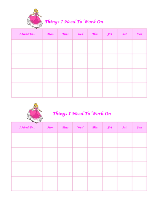 Things I Need To Work On Behaviour Chart - Cinderella Printable pdf