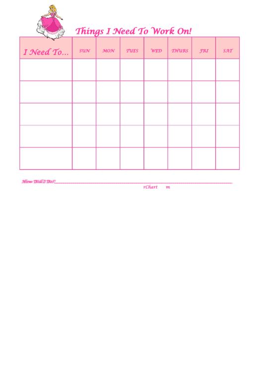 Things I Need To Work On Behaviour Chart - Cinderella Printable pdf