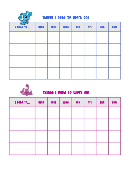 Things I Need To Work On Behaviour Chart - Blues Clues Printable pdf