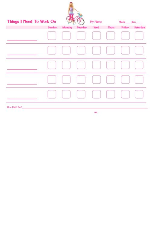 Things I Need To Work On Barbie Template Printable pdf