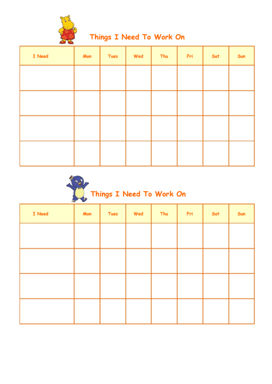 Things I Need To Work On Template - Backyardigans Printable pdf