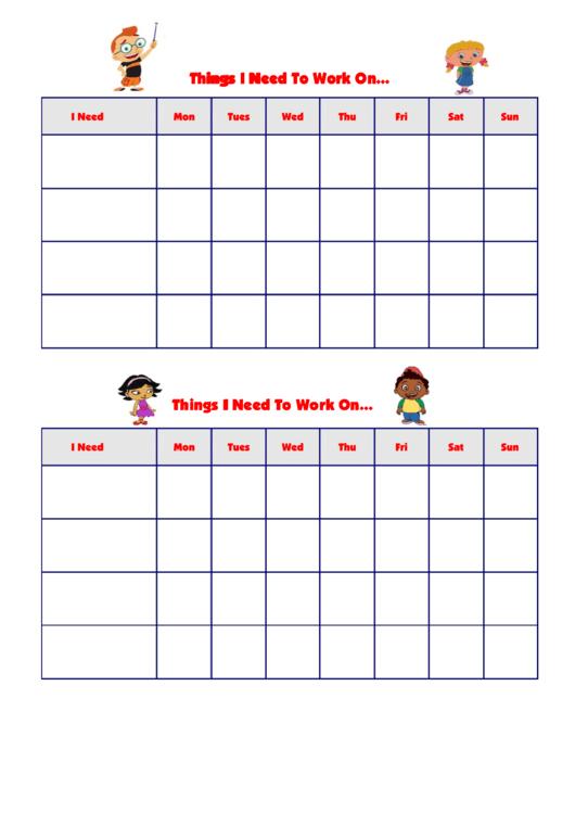 Things I Need To Work On Behaviour Chart - Einsteins Printable pdf