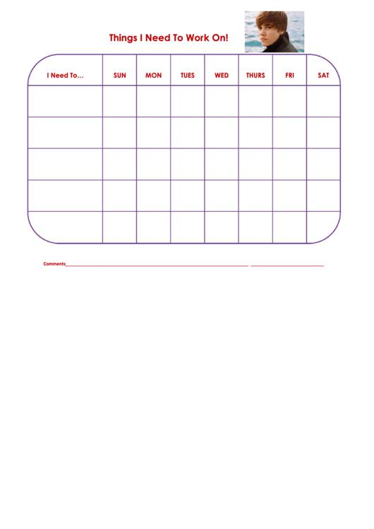 Things I Need To Work On Justinb Template Printable pdf