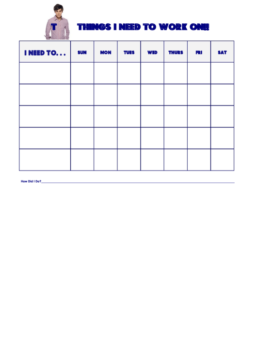 Things I Need To Work On Behaviour Chart - High School Musical Troy Printable pdf