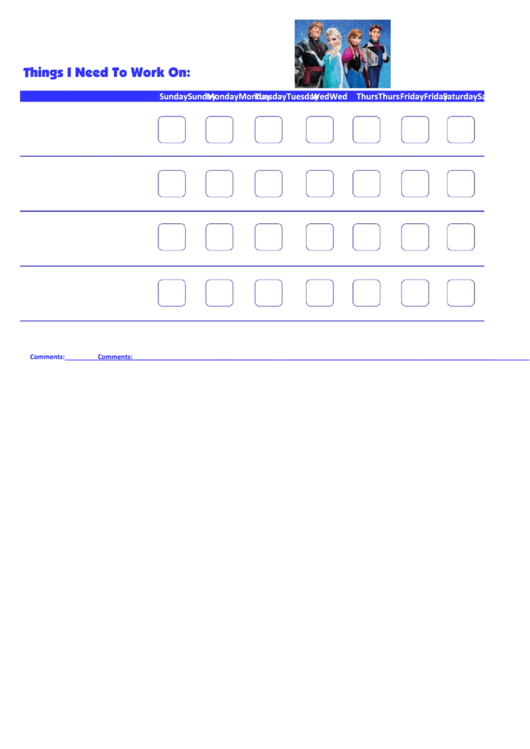 Things I Need To Work On - Behavior Chart Template - Frozen Printable pdf
