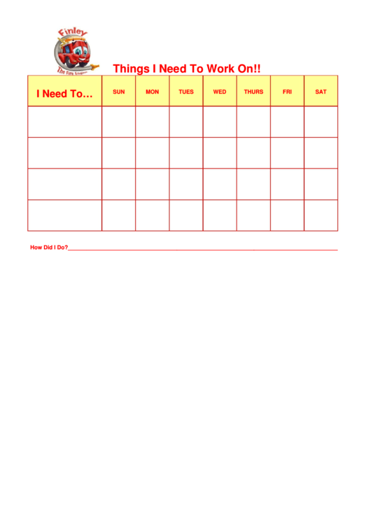Things I Need To Work On Finley Fire Engine Template Printable pdf