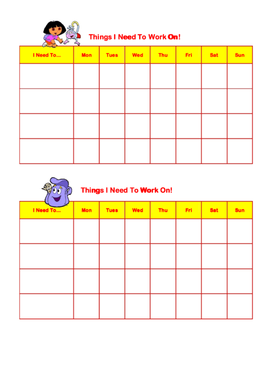 Things I Need To Work On Behaviour Chart - Dora Printable pdf