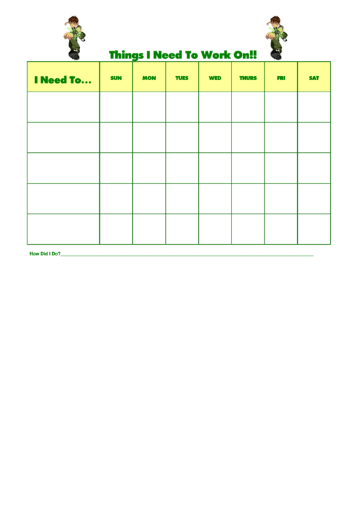 Things I Need To Work On Ben 10 2 Template Printable pdf