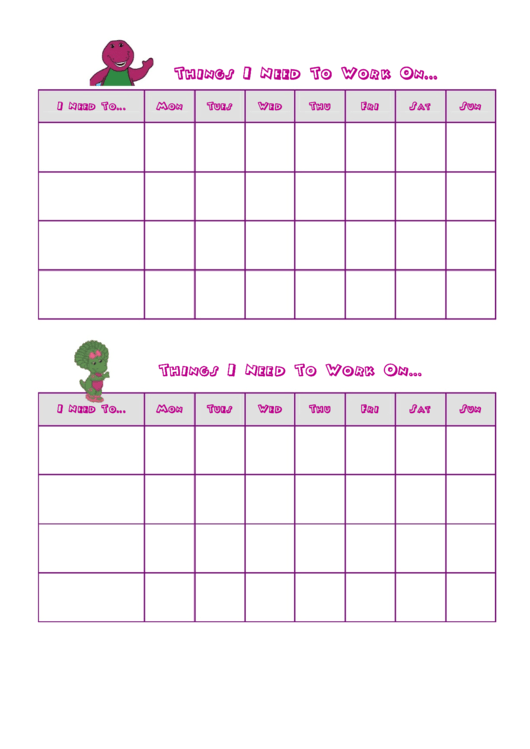 Things I Need To Work On Behaviour Chart - Barney Printable pdf