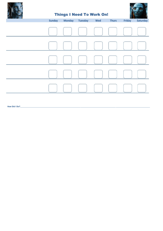 Things I Need To Work On Avatar Template Printable pdf