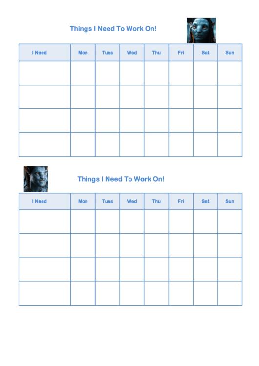 Things I Need To Work On Behaviour Chart - Avatar Printable pdf