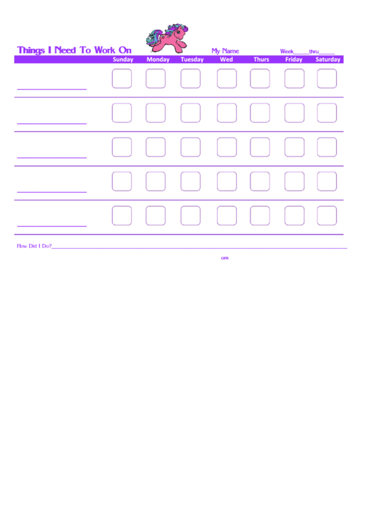 Things I Need To Work On My Little Pony New Template Printable pdf